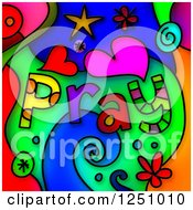 Stained Glass Design Of Pray Text And Shapes Over Colors