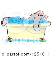 Female Elephant Soaking In A Bath Tub
