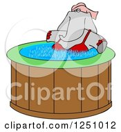 Female Elephant Soaking In A Hot Tub