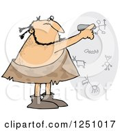 Clipart Of A Caveman Drawing On A Wall Royalty Free Vector Illustration