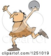 Clipart Of A Caveman Running With A Bowling Ball Royalty Free Vector Illustration by djart