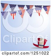 Clipart Of A Blue Background With A Top Hat And American Flag Bunting Banner Royalty Free Vector Illustration by elaineitalia