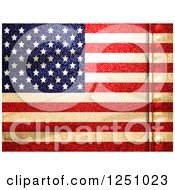 Clipart Of A Denim Textured American Flag Background With A Seam Royalty Free Vector Illustration by elaineitalia