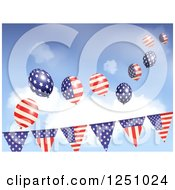 Clipart Of Party Flag Banners With American Flag Balloons Against Sky Royalty Free Vector Illustration by elaineitalia