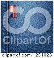 Clipart Of A Blue Denim Jeans Background With A Seam And American Flag Tag Royalty Free Vector Illustration