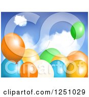 Clipart Of 3d Colorful Party Balloons Over Sky Royalty Free Vector Illustration by elaineitalia