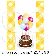 Clipart Of A Birthday Cake With Party Balloons And Yellow Gingham Royalty Free Vector Illustration by elaineitalia
