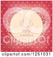 Clipart Of A Vintage Cupcake Doily Over Pink Polka Dots Royalty Free Vector Illustration