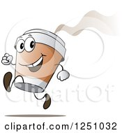 Clipart Of A Happy Hot To Go Coffee Cup Character Running Royalty Free Vector Illustration