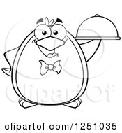 Clipart Of A Black And White Penguin Character Waiter Royalty Free Vector Illustration by Hit Toon