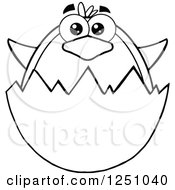 Clipart Of A Black And White Penguin Character In An Egg Shell Royalty Free Vector Illustration