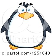 Clipart Of A Penguin Character With Blue Eyes Royalty Free Vector Illustration by Hit Toon