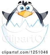 Clipart Of A Penguin Character In An Egg Shell Royalty Free Vector Illustration