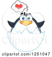 Clipart Of A Penguin Character Thinking About Love In An Egg Shell Royalty Free Vector Illustration