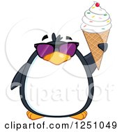 Clipart Of A Penguin Character In Sunglasses Holding Up A Waffle Cone Royalty Free Vector Illustration