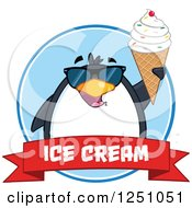 Clipart Of A Penguin Character In Sunglasses Holding Up A Waffle Cone Over A Red Ice Cream Banner Royalty Free Vector Illustration by Hit Toon