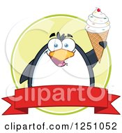 Clipart Of A Penguin Character Holding Up A Waffle Cone Over A Banner Royalty Free Vector Illustration by Hit Toon