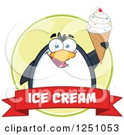 Clipart Of A Penguin Character Holding Up A Waffle Cone Over A Red Ice Cream Banner Royalty Free Vector Illustration by Hit Toon
