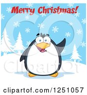 Clipart Of A Penguin Character Waving Under Merry Christmas Text Royalty Free Vector Illustration