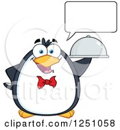 Clipart Of A Talking Penguin Character Waiter Royalty Free Vector Illustration by Hit Toon