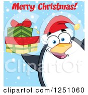 Clipart Of A Penguin Character Holding Gifts And Saying Merry Christmas Royalty Free Vector Illustration by Hit Toon