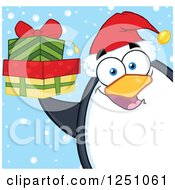 Clipart Of A Penguin Character Holding Gifts In The Snow Royalty Free Vector Illustration by Hit Toon