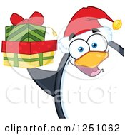 Clipart Of A Penguin Character Holding Gifts Royalty Free Vector Illustration by Hit Toon