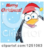 Clipart Of A Penguin Character Saying Merry Christmas Royalty Free Vector Illustration by Hit Toon