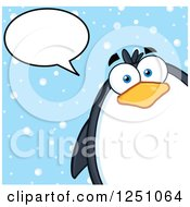 Clipart Of A Penguin Character Talking In The Snow Royalty Free Vector Illustration by Hit Toon