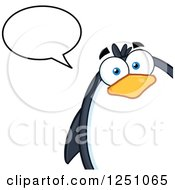 Clipart Of A Penguin Character Talking Royalty Free Vector Illustration by Hit Toon