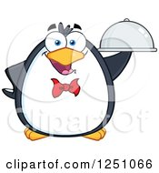Clipart Of A Penguin Character Waiter Royalty Free Vector Illustration by Hit Toon