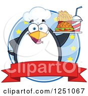 Clipart Of A Chef Penguin Character Holding A Tray Of Fast Food Over A Banner Royalty Free Vector Illustration by Hit Toon