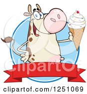 Clipart Of A Beige Dairy Cow Holding Up A Waffle Ice Cream Cone Over A Red Banner Royalty Free Vector Illustration by Hit Toon