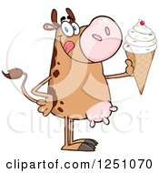 Clipart Of A Brown Dairy Cow Holding Up A Waffle Ice Cream Cone With Sprinkles Royalty Free Vector Illustration by Hit Toon