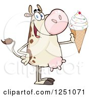Clipart Of A Beige Dairy Cow Holding Up A Waffle Ice Cream Cone With Sprinkles Royalty Free Vector Illustration by Hit Toon