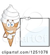 Clipart Of A Waffle Ice Cream Cone Character With Vanilla Frozen Yogurt Pointing To A Blank Sign Royalty Free Vector Illustration by Hit Toon