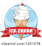 Clipart Of A Waffle Ice Cream Cone With Vanilla Frozen Yogurt And A Text On A Banner Royalty Free Vector Illustration by Hit Toon