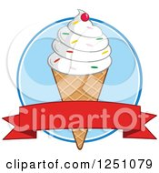 Clipart Of A Waffle Ice Cream Cone With Vanilla Frozen Yogurt And A Red Banner Royalty Free Vector Illustration by Hit Toon