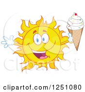 Clipart Of A Happy Sun Holding Up A Waffle Ice Cream Cone With Sprinkles Royalty Free Vector Illustration