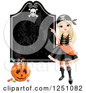 Clipart Of A Blond Pirate Girl Pointing To A Halloween Sign Royalty Free Vector Illustration by Pushkin