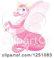 Clipart Of A Cute Pink Dragon Smiling Royalty Free Vector Illustration by Pushkin