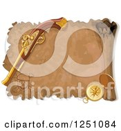 Clipart Of A Aged Treasure Map Scroll With A Pistol And Compass Royalty Free Vector Illustration