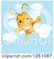 Clipart Of A Happy Bee Flying In A Blue Sky Royalty Free Vector Illustration by Pushkin