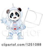 Clipart Of A Cute Panda Astronaut Holding A Flag And Waving Royalty Free Vector Illustration