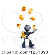 Clipart Of A 3d Blue Android Robot Juggling Currency Symbols Royalty Free Illustration by KJ Pargeter