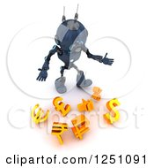 Clipart Of A 3d Blue Android Robot Dropping Currency Symbols Royalty Free Illustration