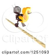 Clipart Of A 3d Red Android Robot Carrying A Dollar Symbol On A Tight Rope Royalty Free Illustration