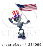 Clipart Of A 3d Blue Android Robot Uncle Same Waving An American Flag Royalty Free Illustration