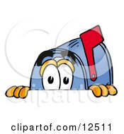 Clipart Picture Of A Blue Postal Mailbox Cartoon Character Peeking Over A Surface by Toons4Biz