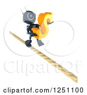 Clipart Of A 3d Blue Android Robot Carrying A Dollar Symbol On A Tight Rope Royalty Free Illustration